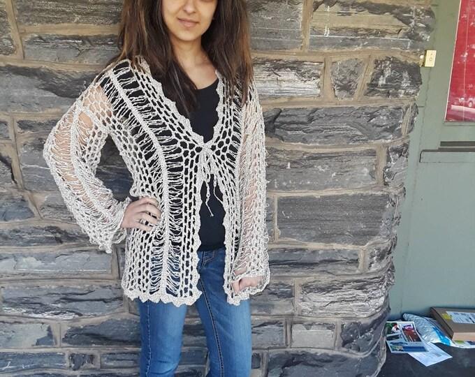Crochet cardigan, crochet sweater, women's crochet cardigan,  boho crochet cardigan, handmade cardigan, lacy cardigan, hairpin lace cardigan