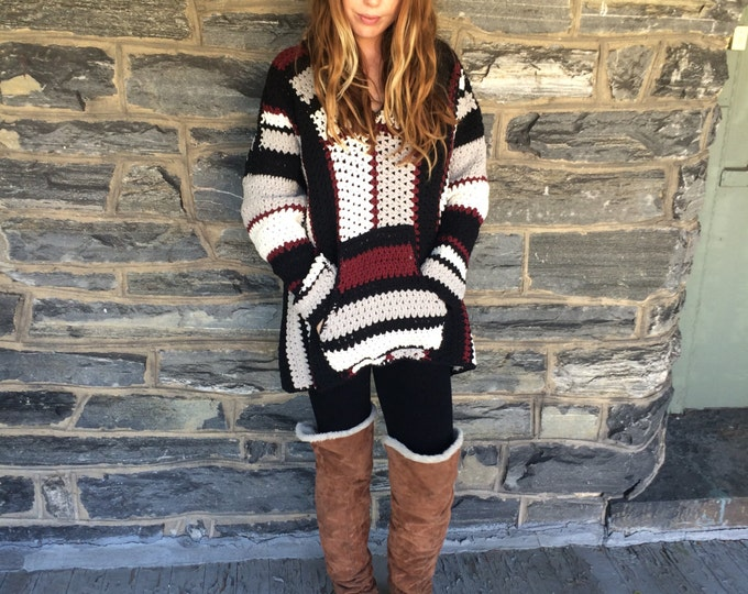 BAJA SWEATER/ Crochet oversize sweater/oversize sweater/ size sweater/ plus size poncho/ crochet poncho/ crochet sweater/ womens sweater