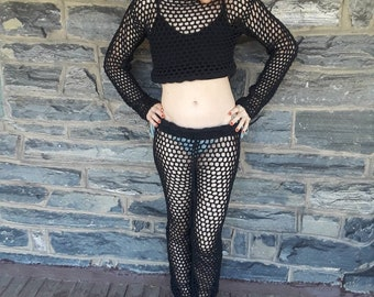 Crochet pants/crochet beachwear pants/Black beach pant/women's pants/boho pants/lace/ festival clothing/ Hippie pants/Top sold separately