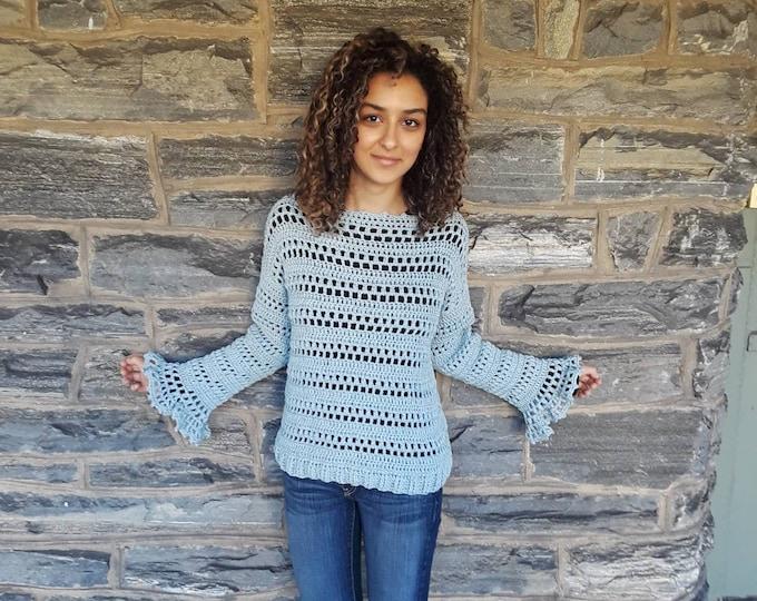 Denim blue crochet Sweater/Crochet pullover/Womens sweater/Boho styles weater/gypsy clothing/loose knit sweater/handmade sweater/sweaters