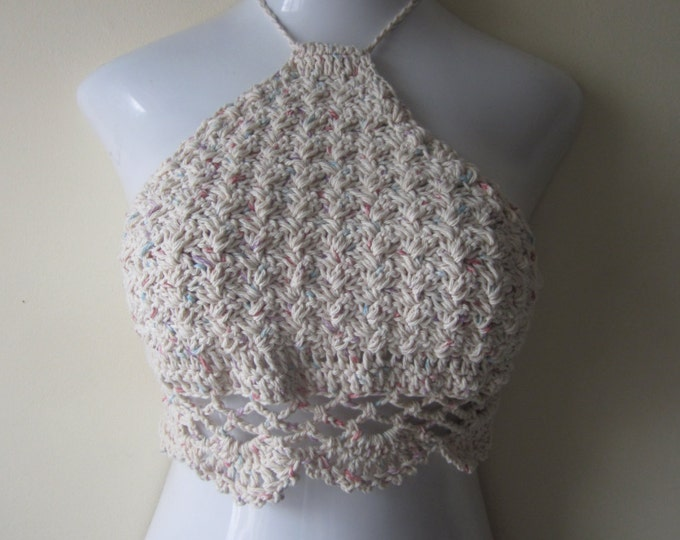 Crochet halter top, halter top, cropped top, bikini top, festival top, burning man festival,  festival, carnival, boho, gyspy