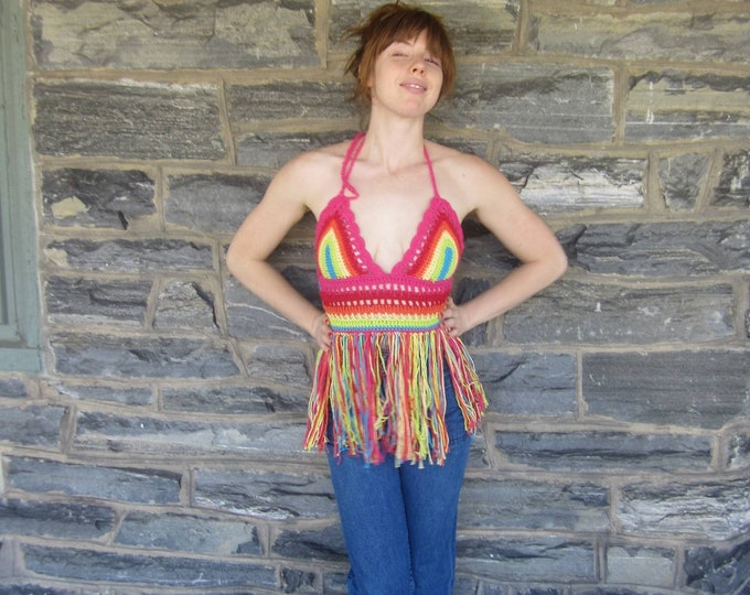 RAINBOW crochet hippie top, festival clothing,Crochet fringe top, ROYGBIV, hippie fringe top, gypsy top, beach cover up, bohemian,summer top