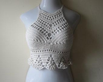 CROCHET CROP TOP, Crochet halter top, crochet festival top, festival clothing, boho  crochet top , crochet bralettes, rave clothing, Edm top