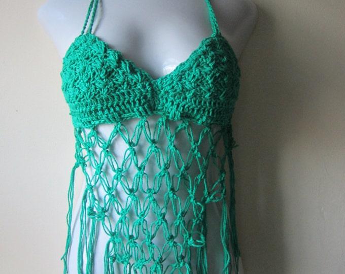 Festival top, crochet fringe  halter top, beach cover up,  carnivals, gypsy, boho, hippie, retro MOD GREEN