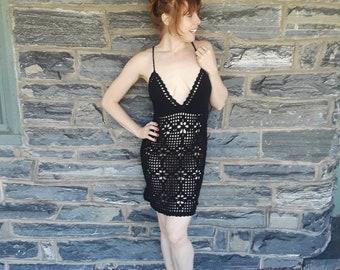 87c81a0191 BLACK CROCHET DRESS, beach cover up, Crochet dress, , naked dress, sheer crochet  dress, bikini cover, festival, hippie, boho crochet dress