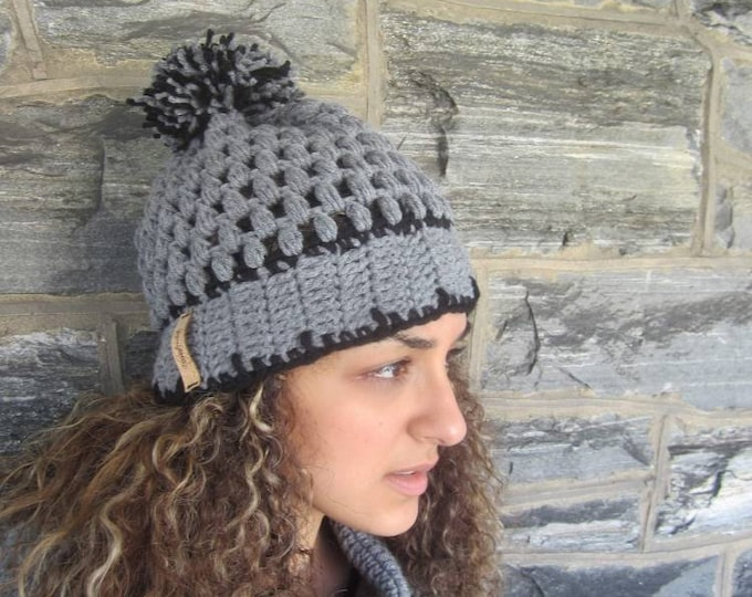 CROCHET gray  POMPOM BEANIE/ beanie /holiday gift/gift for her/women hat/ crochet women hat/gray crochet slouchy hat/crochet winter hat