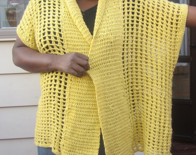Sweater, crochet sweater, Oversize cardigan, plus size sweater,plus size Poncho coat,  crochet poncho, lemon yellow, alpaca blend