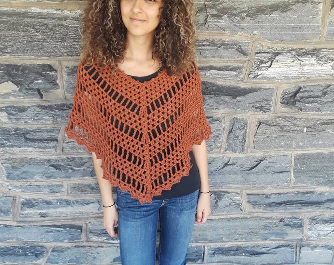 CROCHET PONCHO/ persimmon/ crochet womens poncho/ Boho poncho/crochet poncho/poncho/gift for her/Birthday gift/ Christmas gift/ Fall fashion