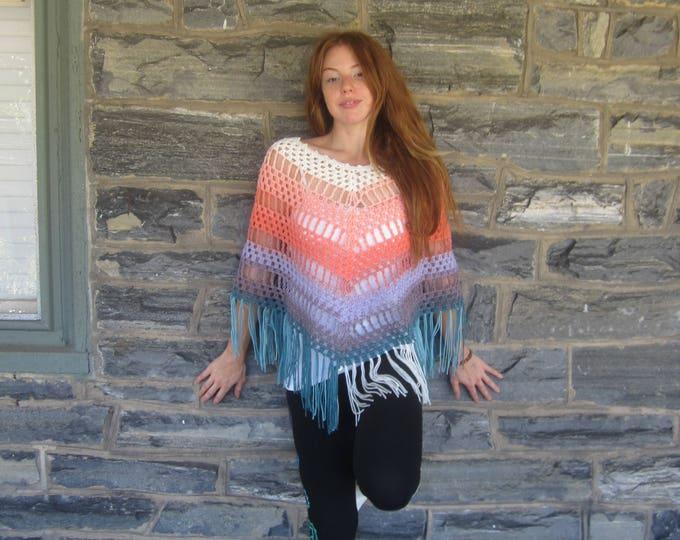 HIPPIE FRINGE PONCHO, Ombre crochet poncho, Pastel  Poncho, Airy  fringe poncho,Hippie poncho,  newly listed!