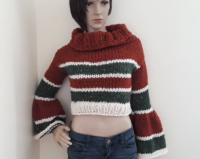 Crop sweater with bell sleeves, bohemian style, crop sweater, hand knit sweater, knitted crop sweater, bell sleeve knit sweater, gypsy style
