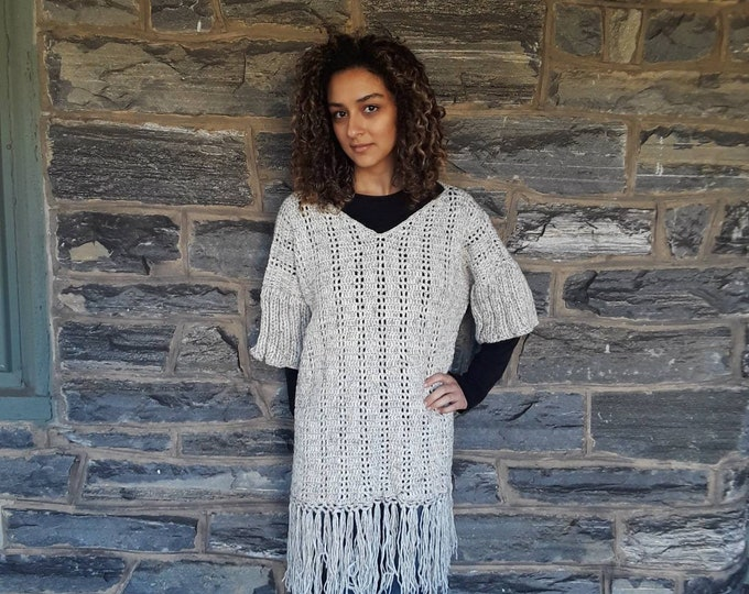 OVERSIZE SWEATER/crochet sweater/poncho/boho style sweater/Plus size sweater/ hand knit sweater/Bohemian wool sweater/loose fit sweater/Gift
