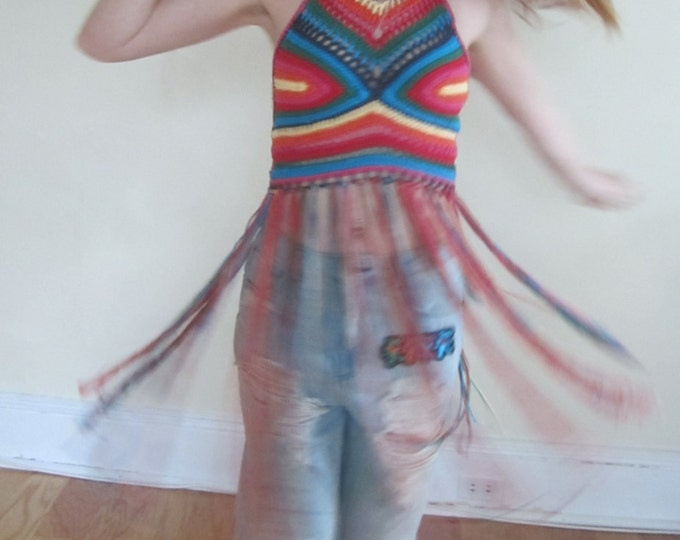FESTIVAL FRINGE TOP, Hippie rainbow top, festival clothing, crochet halter top, Elongated fringe top, gypsy clothing, Hippie, bohemian
