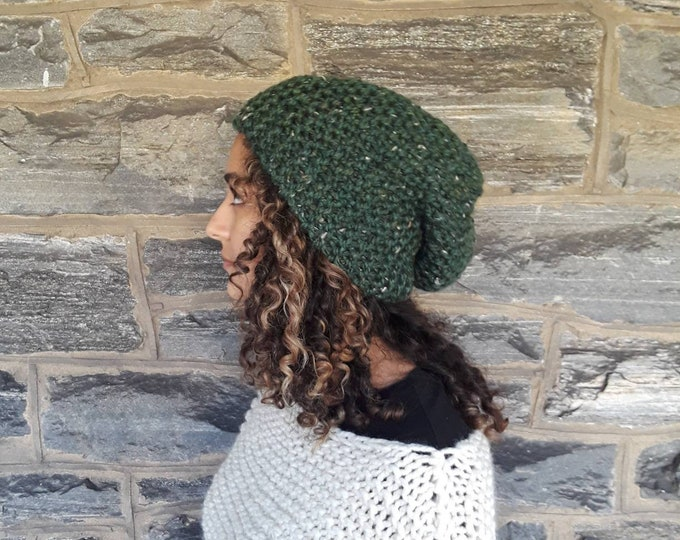 Kale slouchy Beanie/chunky beanie/slouchy beanie/winter hat/dreadlock hat/bad hair day beanie/knit hat/knitted beanie/hand knit hat
