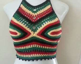 RASTA FESTIVAL TOP, Cropped rasta halter top,  crochet halter top,  halter top, caribbean, rasta,  afrocentric, carnivals, gypsy, boho