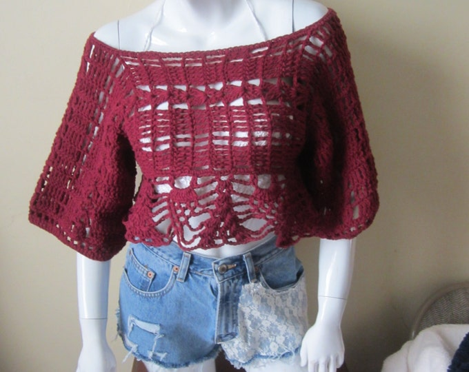 BURGUNDY CROPPED TOP, Cropped off shoulder top, Festival clothing, Bohemian clothing, gypsy top,scoop neck, boat neck, peplum top