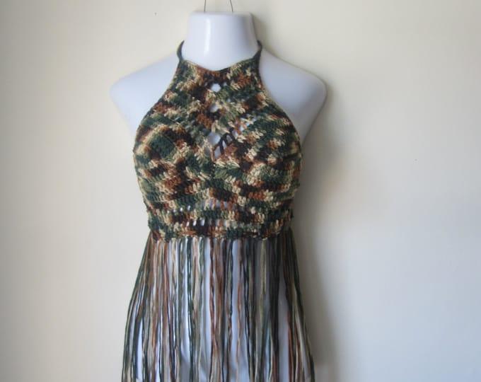 camouflage FESTIVAL HALTER TOP, crochet Fringe top,  festival clothing, gypsy clothing, Hippie top, bohemian, colorful top,