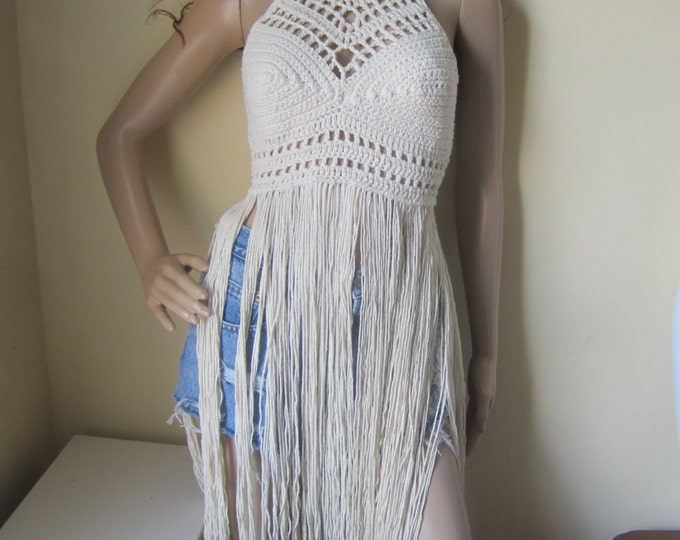 FESTIVAL CROCHET TOP, festival clothing, crochet halter top, halter top, Elongated fringe top, gypsy clothing, Hippie, bohemian, rainbow top
