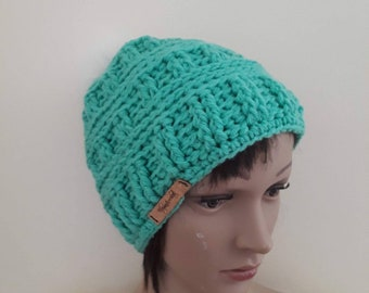 Mint Crochet beanie/faux pompom beanie/crochet hat/women's hat/warm winter hat/skull cap beanie/gift for her/hand made beanie hat/beanie