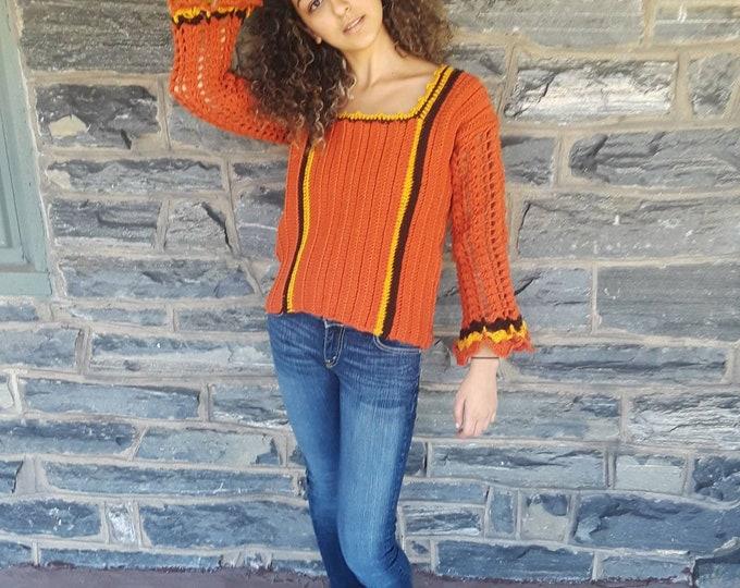 FALL SWEATER/ Jumper/ crochet varsity sweater/Fall/winter fashion/Autumn sweater/ crochet top/gift for her/ womens sweater/ knitwear sweater