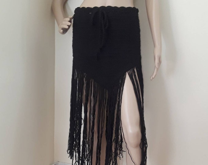 Crochet fringe skirt, black festival skirt, crochet beach skirt, EDM rave skirt, boho crochet skirt, tribal dancing skirt  festival clothing