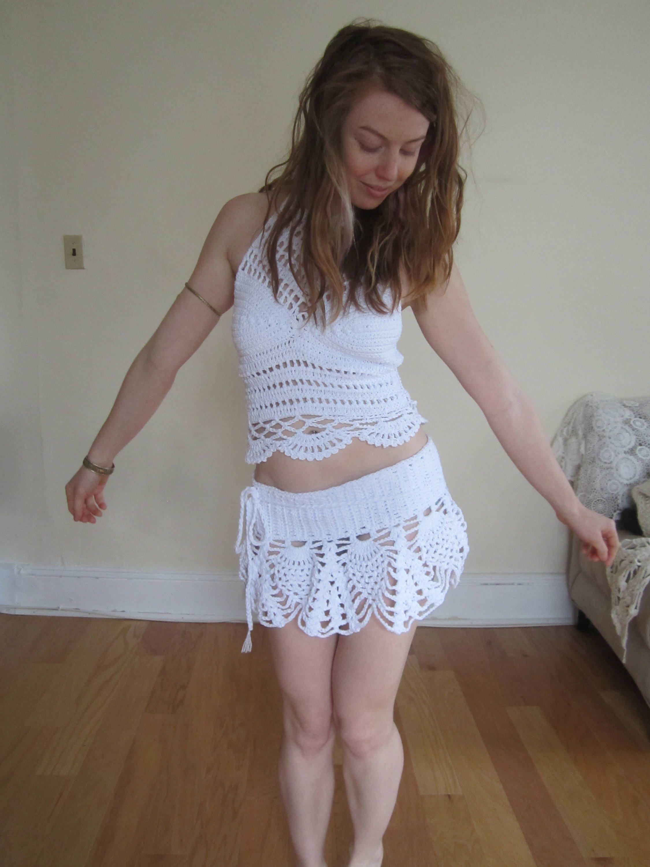 7d823d9c77bc3 CROCHET SARONG SKIRT  wrap skirt festival clothing beachcover boho gypsy  hippie Mini  pixie skirt psytrance  Faery  ethnic   steampunk elf