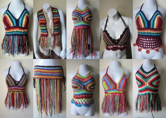 crochet top clothing top colorful Hippie Crochet crochet top rainbow top gypsy festival top halter halter bohemian 8a15xEn