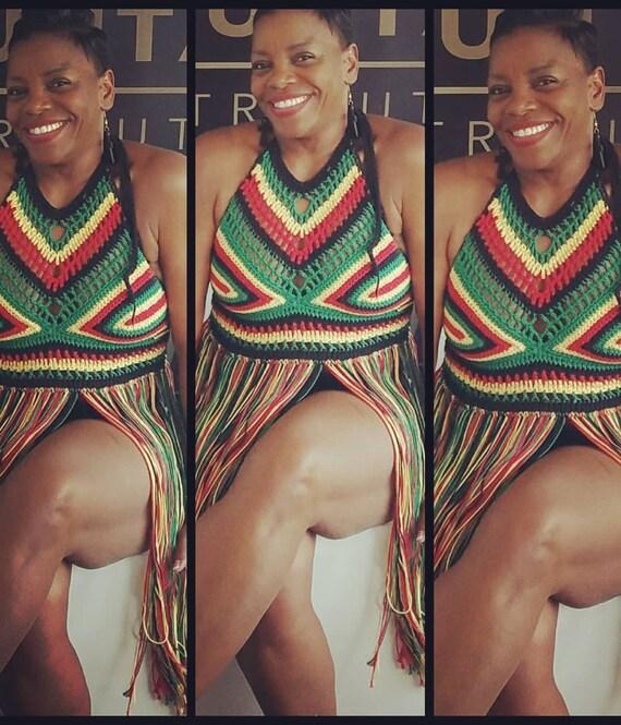 festival caribbean crochet halter gypsy clothing carnivals RASTA bikini afrocentric rasta halter boho TOP crochet top CROCHET top qx00ECwBT