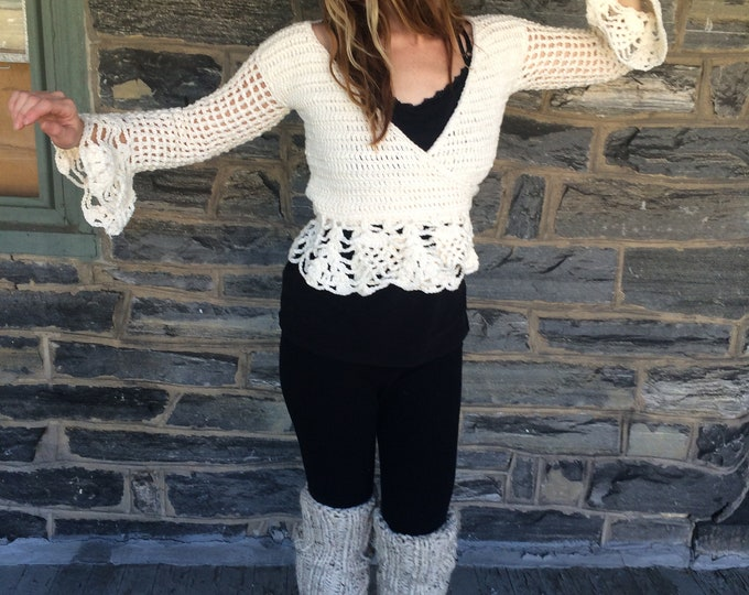 WRAP SWEATER, CROCHET ballerina sweater, Wrap top/sweater, festival clothing, festival top, crisscross sweater, gypsy clothing boho sweater