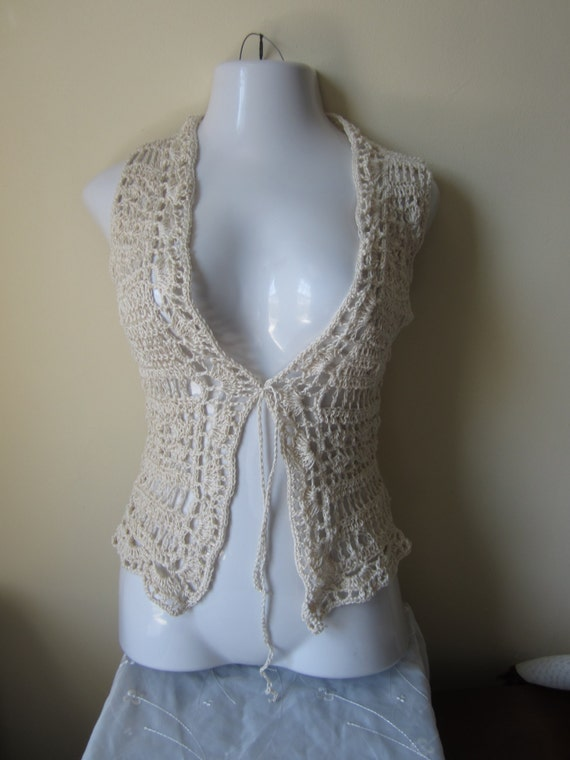 gypsy boho festival cotton vest edges Vest vest festival retro vest Sweater VEST Boho Crochet scalloped clothing Egyptian ZHawpxp