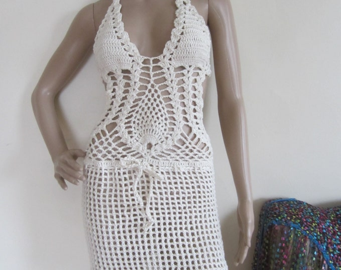 CROCHET DRESS, Crochet monokini dress, crochet dress,monokini halter, bohemian, beach cover up, gypsy clothing, hippie, summer dress