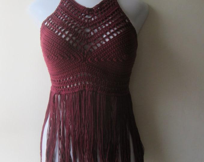 CROCHET FRINGE HALTER top, Festival clothing, crochet halter fringe top, bikini cover, beachwear, summer top, gypsy, Boho chic, Cotton