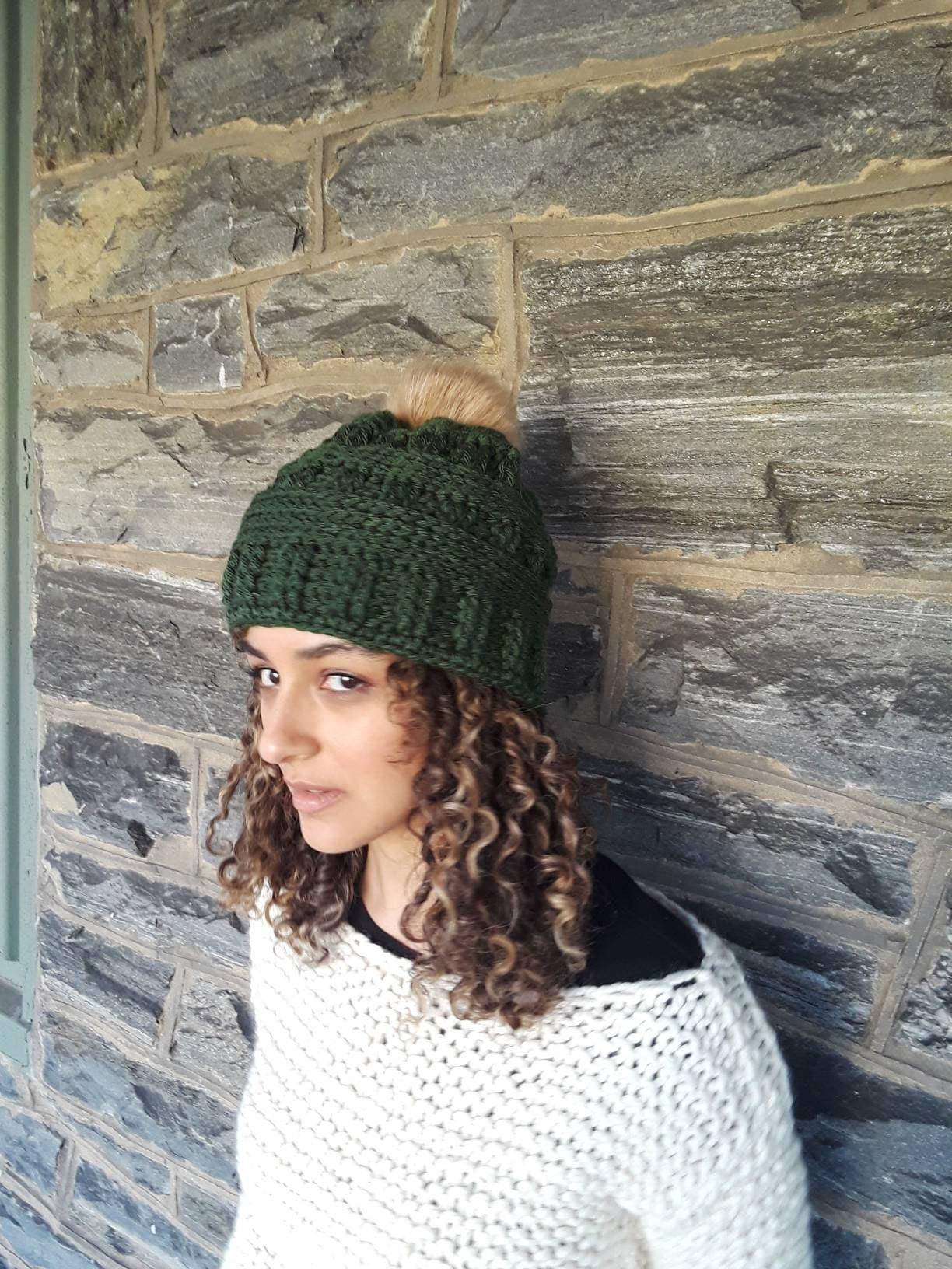 Hunter Green Crochet beanie faux pompom beanie crochet hat women s ... 7f59d1f7650