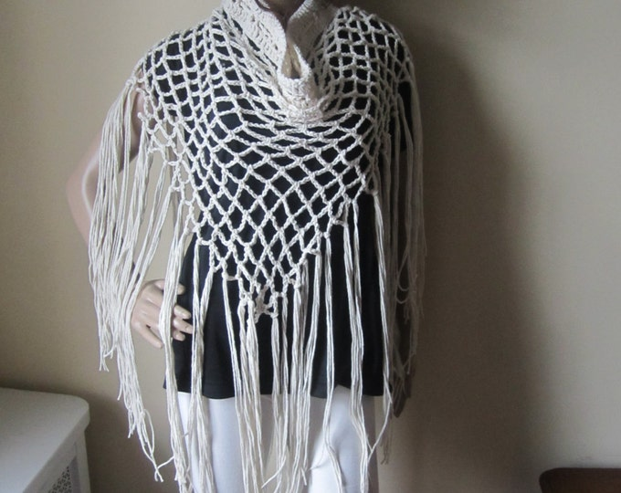 Crochet scarf, elongated fringe, sarong, fringe skirt, shawl, wrap scarf, bohemian, gypsy clothing, festival clothing, winter scarf