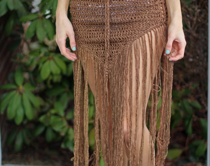 Hippie Crochet skirt, festival skirt, EDM skirt, boho crochet skirt, boho fringe skirt, tribal, belly dancing skirt  festival clothing, rave