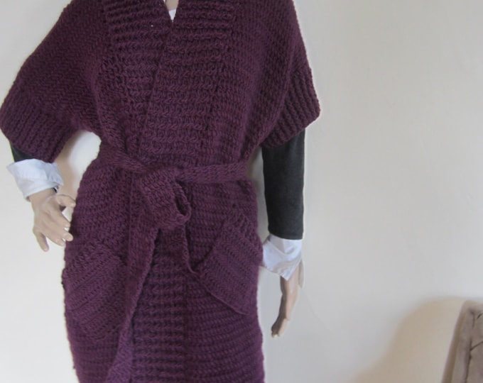 KNIT MAXI CARDIGAN/purple  Plus size  cardigan/ Maxi Cardigan sweater,/Oversize sweater, Winter/Fall, Cardigan, sweater, womens cardigan