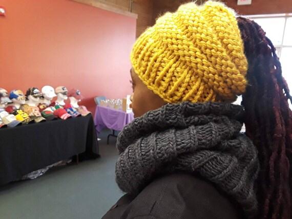 BEEHIVE MESSY BUN beanie ponytail beanie Beehive Beanie  eb27f42efe8