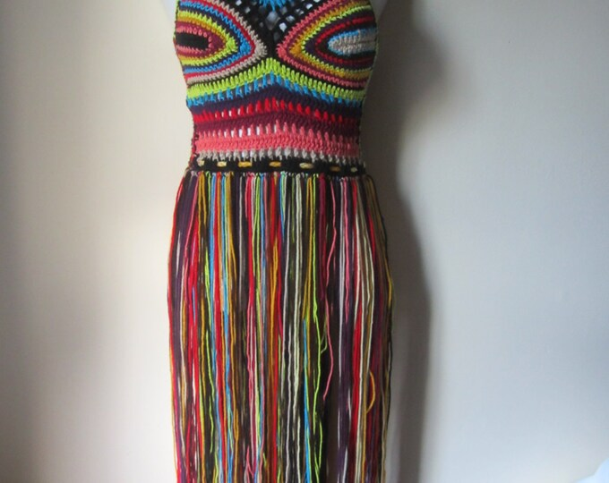 FESTIVAL CROCHET TOP, festival clothing, crochet halter top, halter top, Elongated fringe top, gypsy clothing, Hippie, bohemian, rainbow top