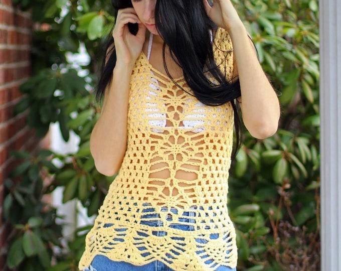 Crochet MINI  Dress with ruffled edges, tunic, festival clothing, beach cover up, boho, hippie, gypsy, ecofriendly yarn