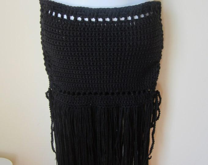 Crochet skirt, Black fringe skirt, Maxi skirt, Fringe maxi skirt, bohemian fringe skirt, hippie fringe skirt, FESTIVAL CLOTHING