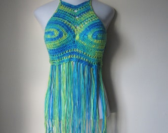 FESTIVAL  HALTER TOP, Hippie top, bohemian clothing, music festival outfit, crochet Fringe top, festival clothing for women, gypsy clothing