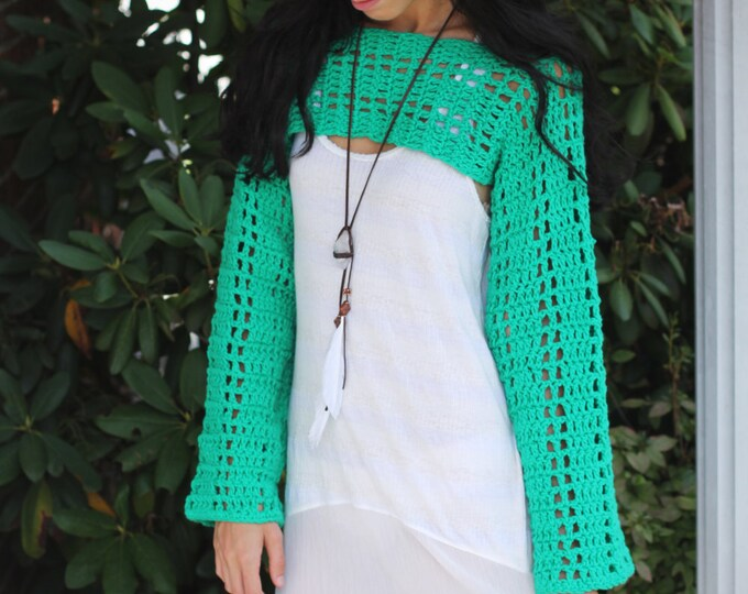 Cropped Sweater, Emerald Green, crochet sweater, Beach cover,  festival, gypsy, sweater SHRUG, Boho,  Long sleeved, cropped top, gypsy,