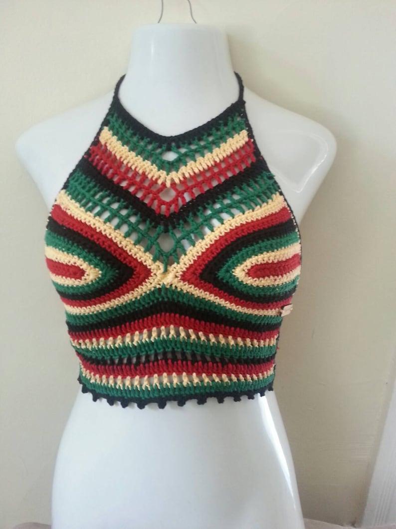 5013ec3d18af1 RASTA FESTIVAL TOP Cropped rasta halter top crochet halter