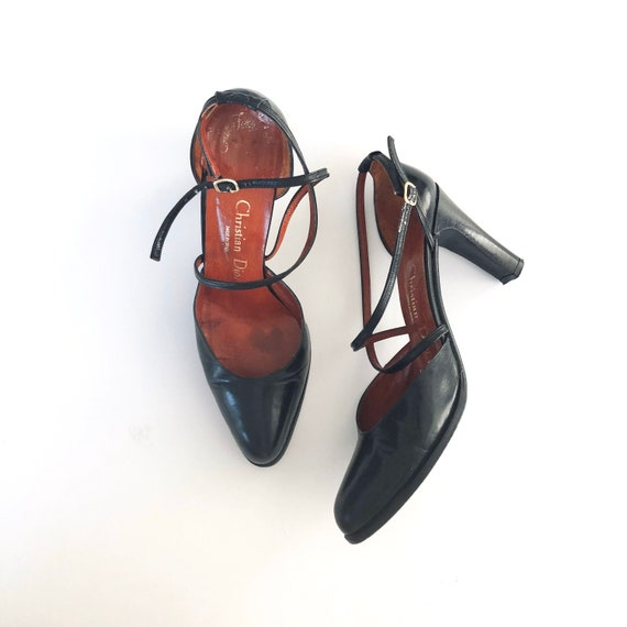 Christian Dior Black Leather Heels Pumps 1970's Sa