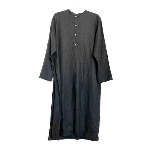 Vintage Tehen Black Linen Lagenlook High Slit Top