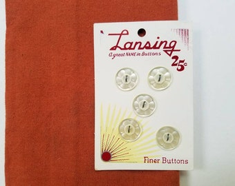 Grey Red Cream Yellow Pearls Green Vintage Lansing Carded Buttons Brown