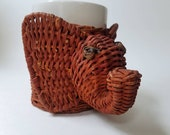 Vintage Woven Wicker Elephant Plant Holder with Removable White Pot