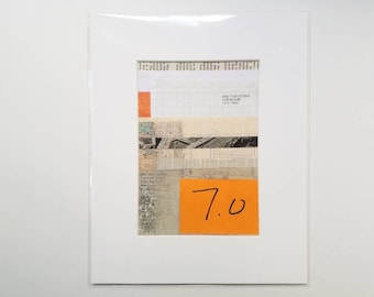 """Original Abstract Mixed Media Art on Paper, """"7 Pounds"""", Collage Art, Matted 5x7"""