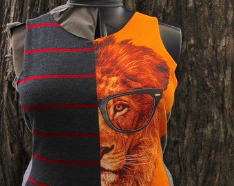 Size LARGE upcycled tank top. T-shirt made from recycled materials, colorful jersey sleeveless tees for summer. One of a Kind, guaranteed.