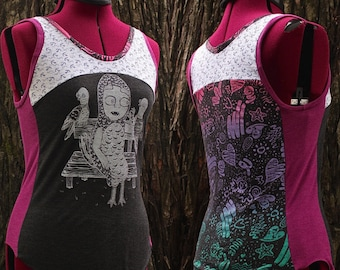 Size SMALL upcycled tank top. Mash up shirt, recycled stripes and Julie Armbruster print. Artist collab shirt. One of a Kind, guaranteed.