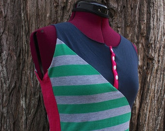 Size SMALL upcycled tank top. T-shirt made from recycled materials, colorful jersey sleeveless tees for summer. One of a Kind, guaranteed.